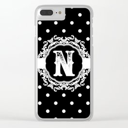 Black Monogram: Letter N Clear iPhone Case