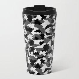 Camouflage Digital Black and White Metal Travel Mug