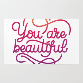You are beautiful hand made lettering motivational quote in original calligraphic style Rug