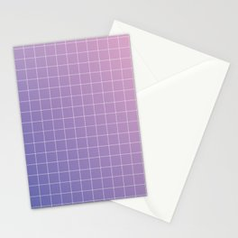 purple / pink - grid Stationery Cards