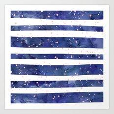 Navy blue watercolor stripes blush pink splatters Art Print