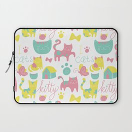Abstract lime green pink cute cats pattern modern typography Laptop Sleeve