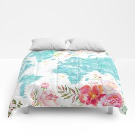 Floral watercolor world map in aquamarine blue Comforters