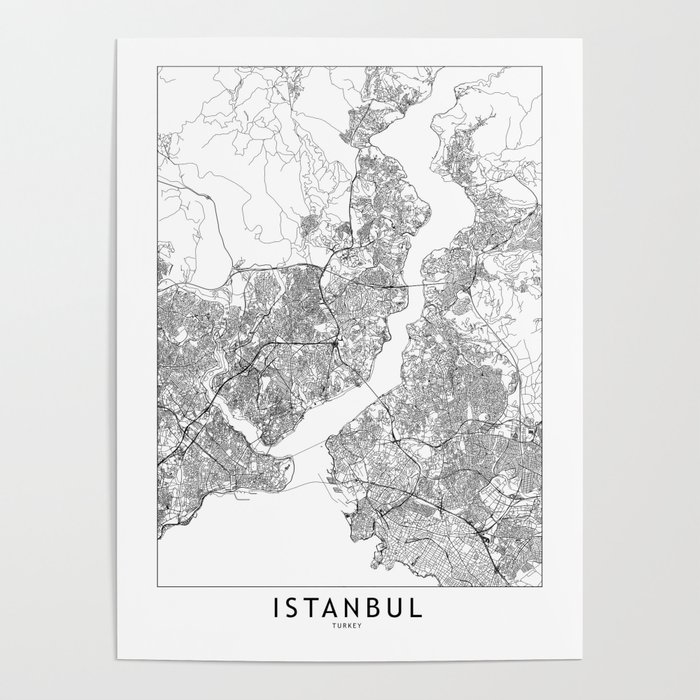 Istanbul White Map Poster