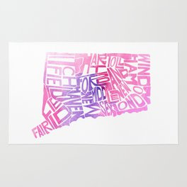 Typographic Connecticut - pink watercolor map Rug