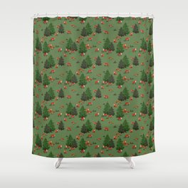 Foxes in the forest Shower Curtain