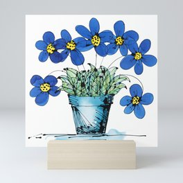 Seven Flowers (Blue): cheery original art in a loose style, simple flowers in a turquoise pot Mini Art Print