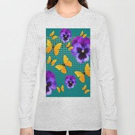 TEAL PURPLE PANSIES BUTTERFLY OPTIC ART Long Sleeve T-shirt