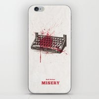 movie poster iPhone & iPod Skins featuring Misery - minimal movie poster by Stefanoreves