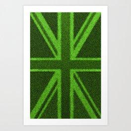 Grass Britain / 3D render of British flag grown from grass Art Print
