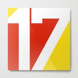 17 in Red and Gold Metal Print