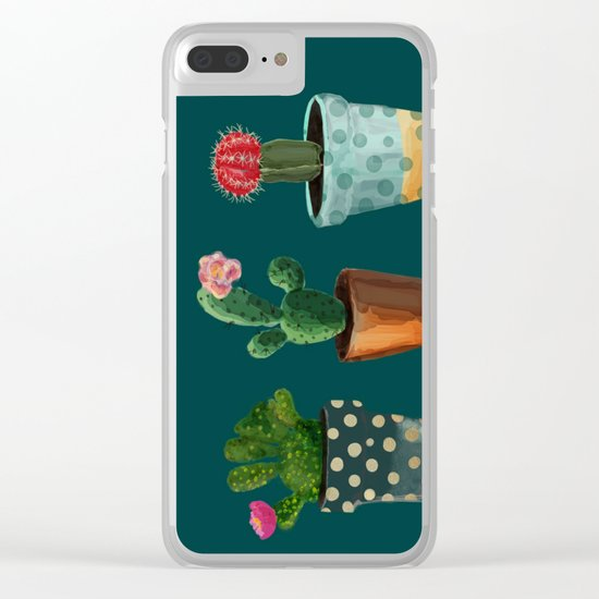 Three Cacti With Flowers On Green Background Clear iPhone Case