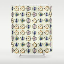 Geometric Patterned Flowers Shower Curtain
