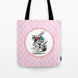 Alice in Wonderland | The Herald of the Court of Hearts | White Rabbit | Pink Damask Pattern | Tote Bag