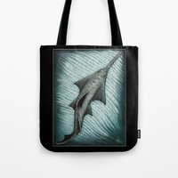 biology Tote Bags featuring Sawfish - Acrylic Painting by Amber Marine