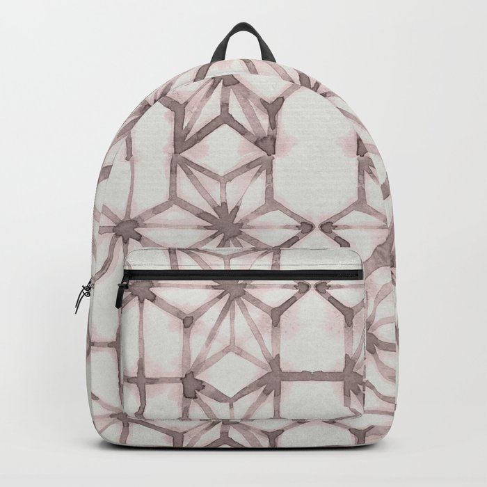 Simply Shibori Stars in Red Earth on Lunar Gray Backpack