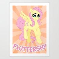 mlp Art Prints featuring MLP FiM: Fluttershy by Yiji
