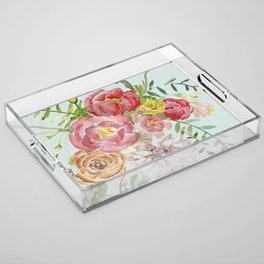 Bouquet of Spring Flowers Light Aqua Acrylic Tray