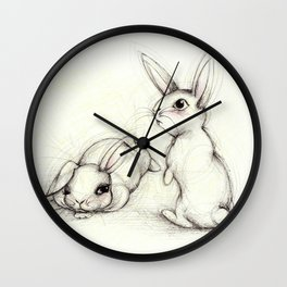 The lazy and the aware bunny friends Wall Clock