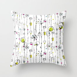 Quirky Icons Throw Pillow