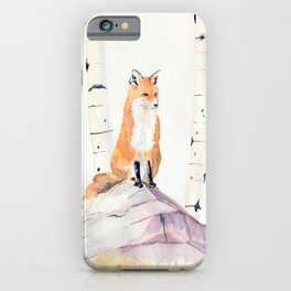 Fox and Birch Trees iPhone Case