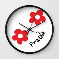 wallet Wall Clocks featuring Inspired PRADA wallet *White and Red Flower* by art_146