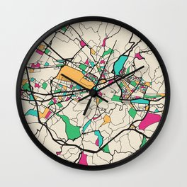 Colorful City Maps: Florence, Italy Wall Clock