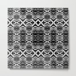 Ethnic Black and White Pattern Metal Print