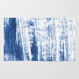 Steel blue streaked watercolor pattern Rug