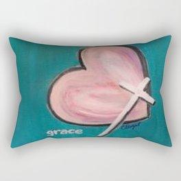 Grace Heart Pink Teal Rectangular Pillow