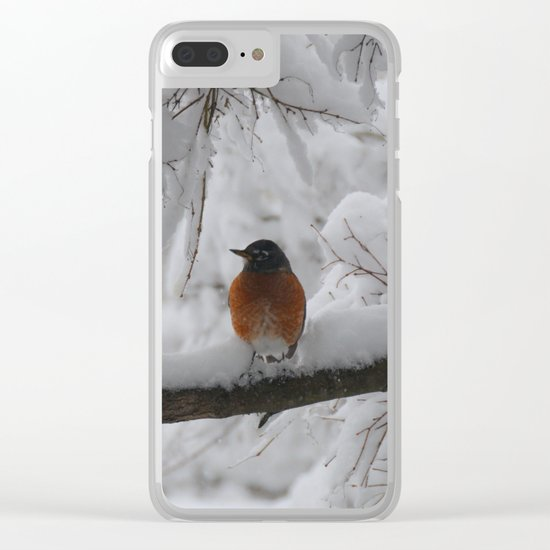 Surpised by the snow Clear iPhone Case