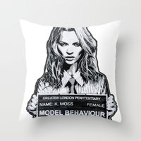 kate moss Throw Pillows featuring Kate Moss by Merlin Dobaryan