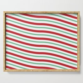 Red White and Green Christmas Candy Cane Pattern Serving Tray
