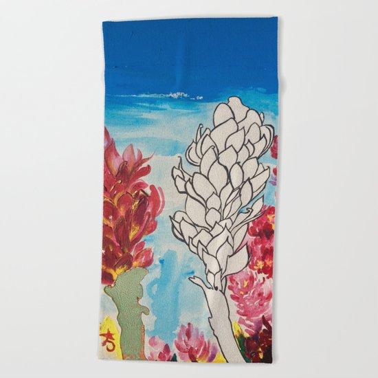 Alpinia purpurata – Red Ginger Flower Beach Towel