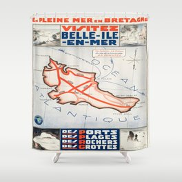 Vintage poster - Belle ile en Mer Shower Curtain