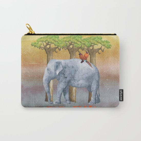 ELE FUN - Elephant Elephants Africa Watercolor Illustration Carry-All Pouch