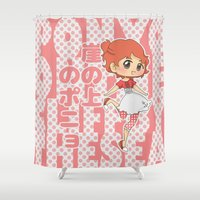 ponyo Shower Curtains featuring Grown-Up Ghibli - Ponyo by monobuu