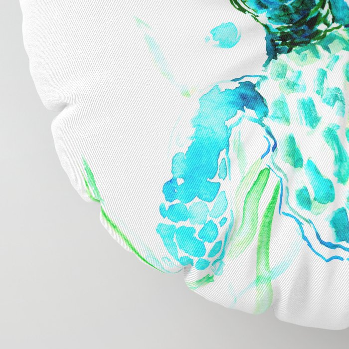 Sea Turtles, Turquoise blue Design Floor Pillow