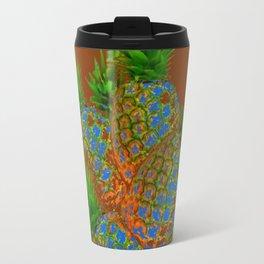 ABSTRACT COFFEE BROWN TROPICAL PINEAPPLES DESIGN Travel Mug