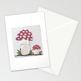 Amanita Muscaria Mushroom Embroidery Art Stationery Cards