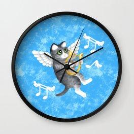 Grey Cherub Kitten Playing a Lyre Wall Clock