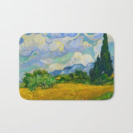 Wheat Field with Cypresses Vincent van Gogh Oil on canvas 1889 Bath Mat