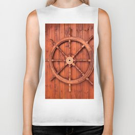 Nautical Ships Helm Wheel on Wooden Wall Biker Tank