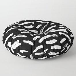 Foundry Abstract Brush Strokes White on Black Floor Pillow