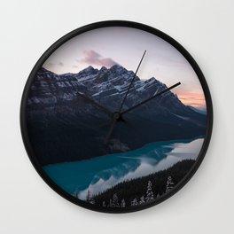 Peyto Lake at dusk Wall Clock