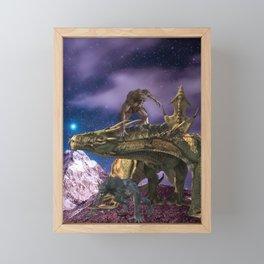 Dragon and Werewolves  Framed Mini Art Print