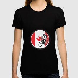 Canadian Cyclist Cycling Canada Flag Icon T-shirt