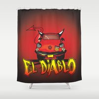 diablo Shower Curtains featuring El Diablo/hell car by mangulica