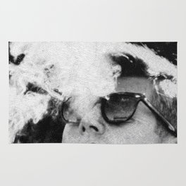 John F Kennedy Cigar and Sunglasses Black And White Rug