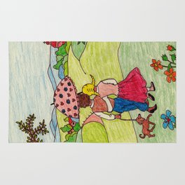 Loving couple in spring Rug
